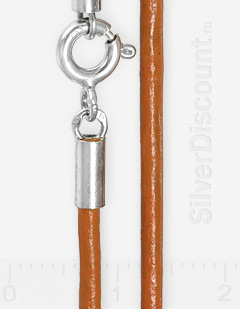 Оранжевый шнур из нат. кожи, 2мм, серебро