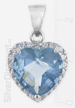 Кулон-сердце с голубым камнем