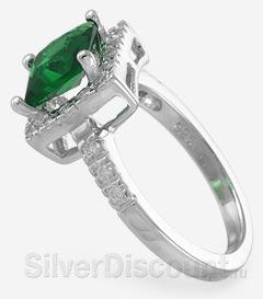 Классический мини-перстень с изумрудным камнем, радированное серебро