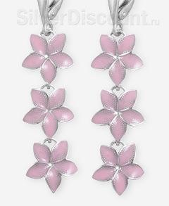 Серьги - цветы франжипани из серебра, розовая эмаль