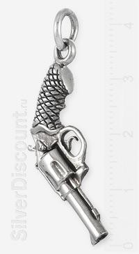 Кулон-револьвер из серебра