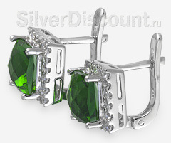 Серебряные серьги с ярко-зелеными камнями