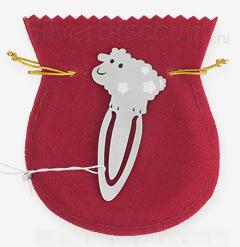 Закладка для книг с серебряной овечкой на фоне мешочка