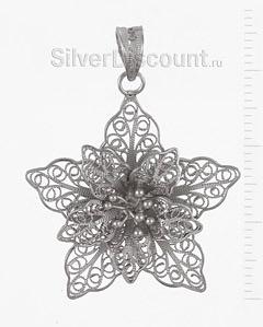 Серебряный кулончик с цветком, скань