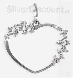 Сердце из серебра с изящной россыпью камней