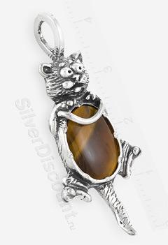 Кулон-кот с тигровым глазом, серебро
