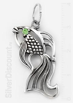 Подвеска серебряная рыбка с хризолитовым фианитом