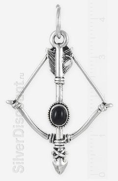 Кулон в виде лука со стрелой из серебра