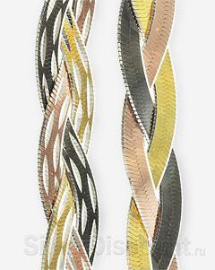 Браслет плетения коса, три цвета: лицевая и обратная сторона