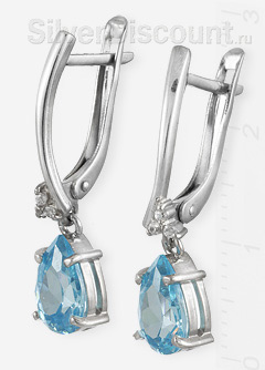 Серьги с голубыми цирконами в форме капли