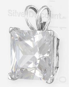 Квадратный кулончик с прозрачным цирконом 1 см, вид сбоку