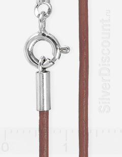 Шнур толщиной 1,5 мм, коричневая кожа, серебро 925
