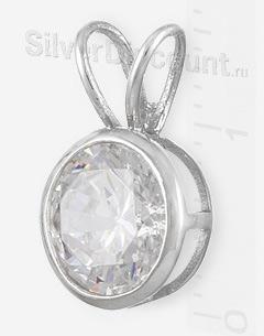 Недорогой серебряный кулон с круглым фианитом 8мм, вид сбоку