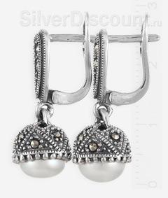 Серебряные серьги с марказитами и жемчужинами