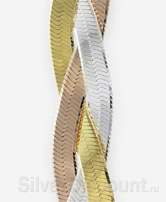Фото плетения плоской цепочки-косы с обратной стороны