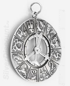 Знаки зодиака из серебра, круглая подвеска - кулон