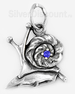 Серебряная улитка с синим фианитом