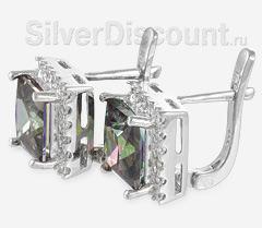 Серебряные серьги с искусственными мистик-топазами, вид сбоку