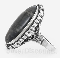Большое кольцо из серебра с моховым агатом