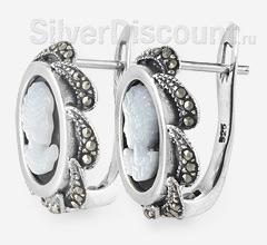 Серебряные серьги-камеи, вид сбоку