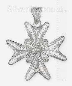Мальтийский крест из серебра в технике филигрань (скань)