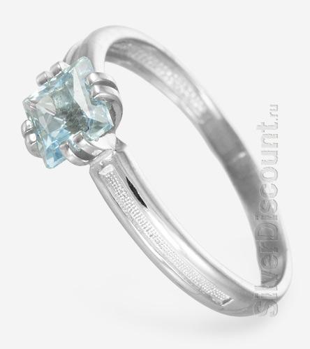 Кольцо с топазом огранки Принцесса, серебро, вид сбоку