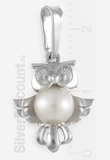Маленькая подвеска в виде совы из серебра