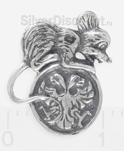 Сувенир - талисман: серебряная мышка с монеткой