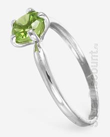 Кольцо с круглым природным хризолитом, вид сбоку