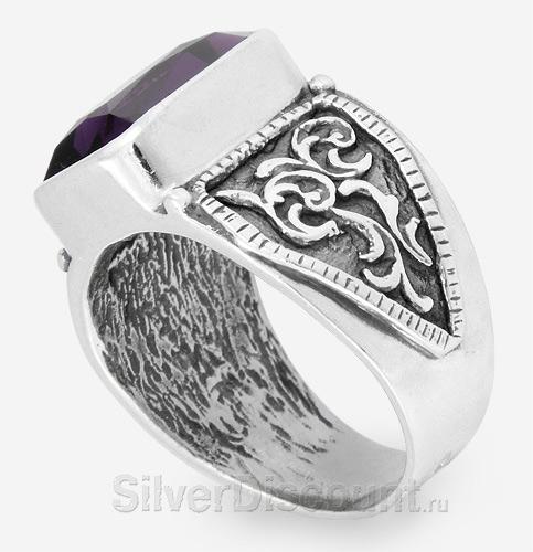 Перстень, серебро с насыщенным аметистом