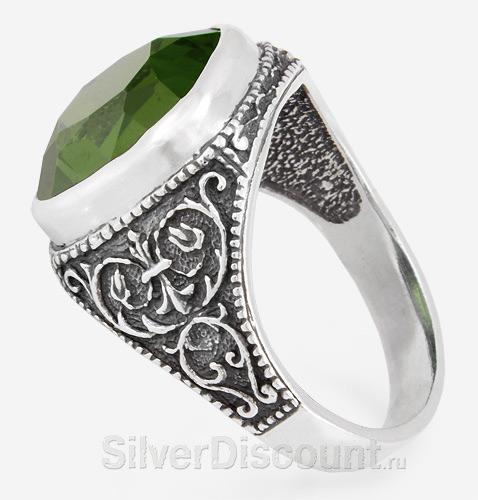 Мужское серебряное кольцо со вставкой изумрудного цвета, празиолитом