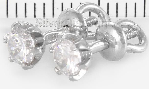 Пуссеты с круглыми прозрачными камнями