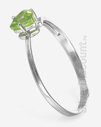 Треугольный мини-перстень с нат. хризолитом, серебро, родирование