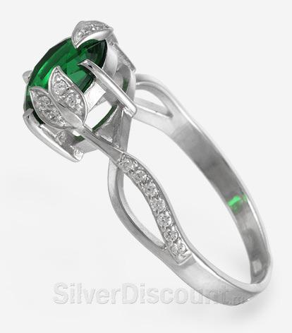 Кольцо серебро с ярко-зеленым камнем, вид сбоку