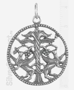 Круглая подвеска в этническом стиле, серебро