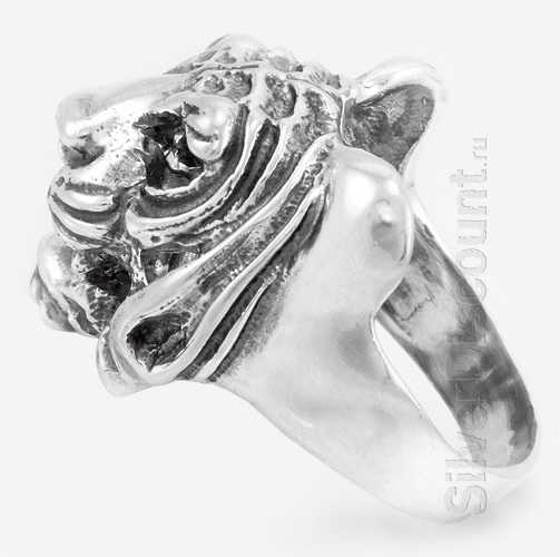 Кольцо - тигр, серебро с чернением