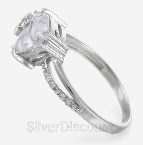 Кольцо с фианитом, серебро, треугольный камень вставка 0,8 см