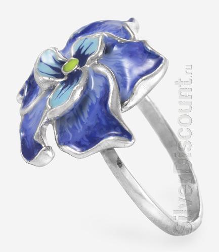 Яркое кольцо с насыщенными цветами эмали, серебро, вид сбоку