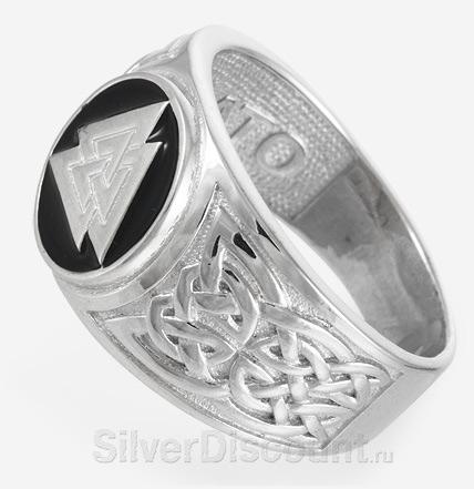 Кольцо Валькнут, серебро, вид сбоку