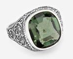 Мужское кольцо с зеленым камнем - празиолитом
