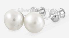 Пусеты из серебра с жемчугом 8 мм