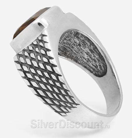 Кольцо с раух топазом из серебра, вид сбоку
