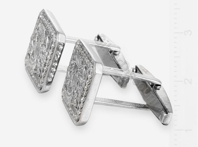 Запонки с российскими двуглавыми орлами, серебро, вид сбоку