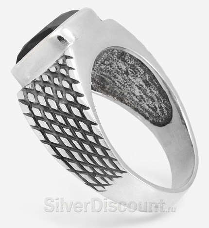 Перстень из серебра с чернью и натуральным агатом квадратной формы