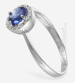 Серебряное кольцо с юбочкой из камней, родирование, вид сбоку