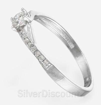 Серебряные кольца со вставками - фианитами
