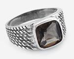 Перстень с рифлением и квадратным камнем