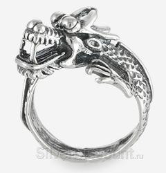 Кольцо-дракон Дилун, серебро, вид сбоку