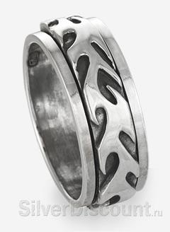 Другая часть тату рисунка в подвижном кольце из серебра