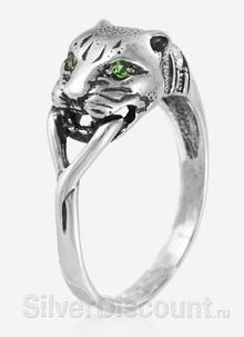 Серебряное кольцо с пантерой, вид с другого ракурса